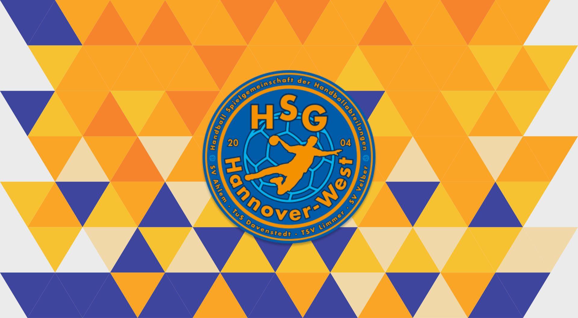 HSG Logo auf dreieckig gemustertem Hintergrund in HSG Farben